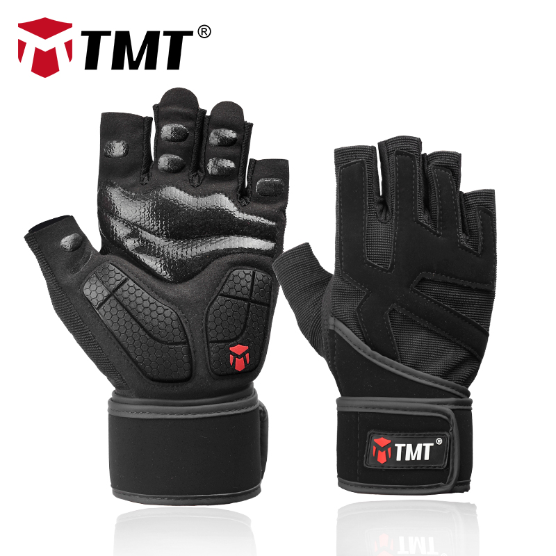 TMT Sports Fitness Weight Lifting Gym Gloves Training Fitness bodybuilding Workout Wrist Wrap Exercise Glove for Men Women(China)