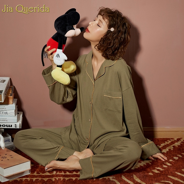 Minimalist Style Pyjamas Women 2020new Spring Fall Cotton Womens Two Piece Plus Size Loose Korean Style Home Clothes Cotton Pjs