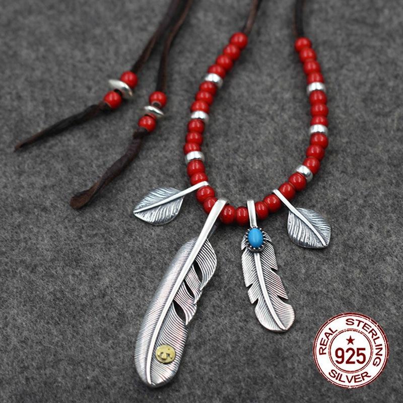 925 collier en argent sterling personnalité mode classique style indien haut de gamme plume volant aigle incrusté forme bleue