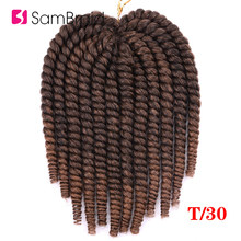SAMBRAID Havana Mambo Twist Crochet Hair Braids 14 Inch 12 Strands/pack Synthetic Hair Ombre Braiding Hair Extensions 5 Colors(China)