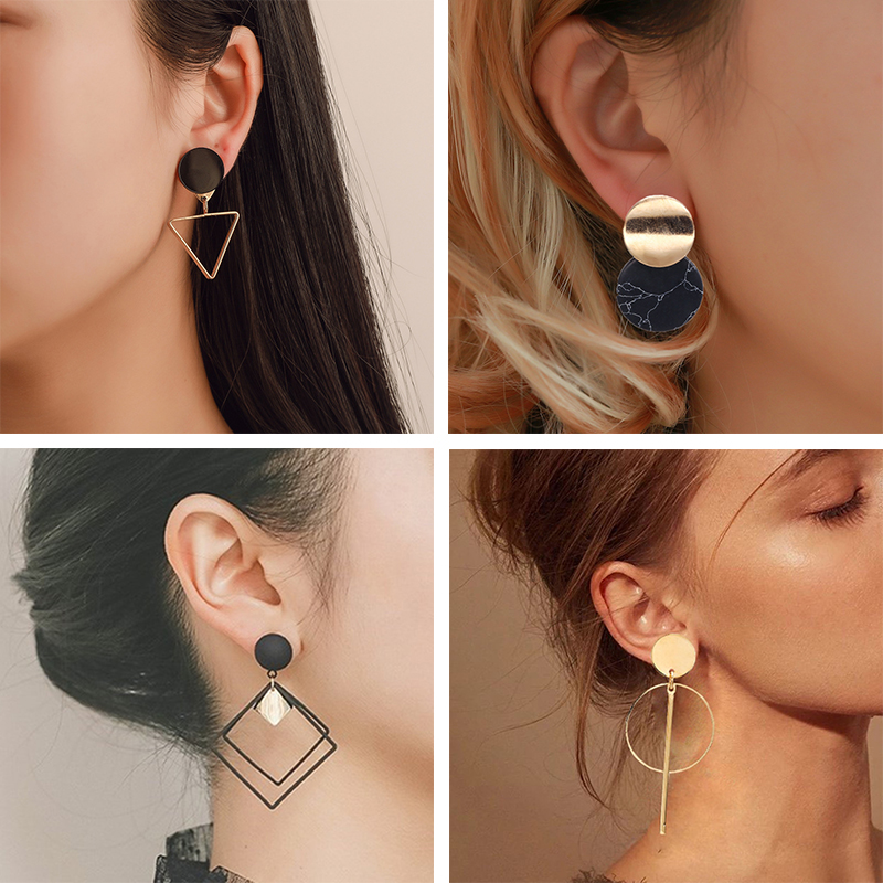 Korean Statement Black Acrylic Drop Earrings For Women 2019 Fashion Jewelry Vintage Geometric Gold Asymmetric Earring