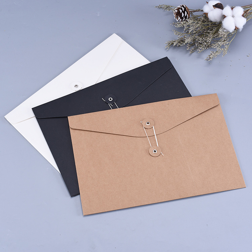 20PCS A4 Line Buckle Classica File Bag Briefcase Information Folder Corporate Business Storage Envelope Packaging Gift Bag