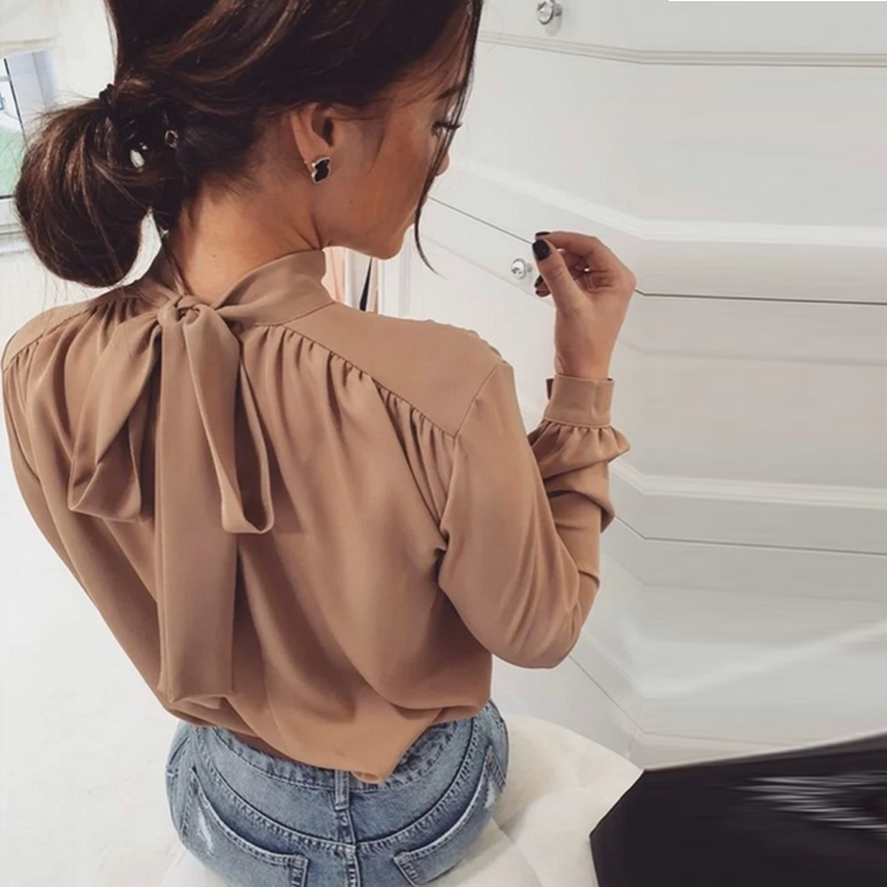 Women Office Lady Back Bow Bakcge Blouse Long Sleeve Stand Collar Solid Elegant Casual Shirts 2020 Summer New Fashion Blouse