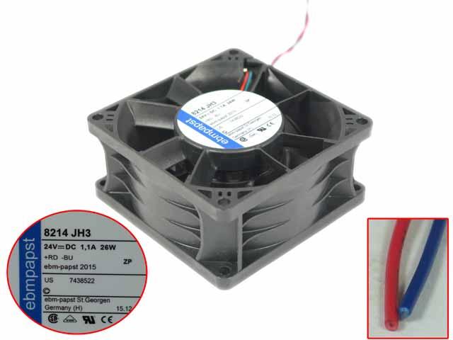Ebmpapst 8214 JH3 DC 24V 26W 80x80x38mm 2 fils serveur refroidisseur ventilateur