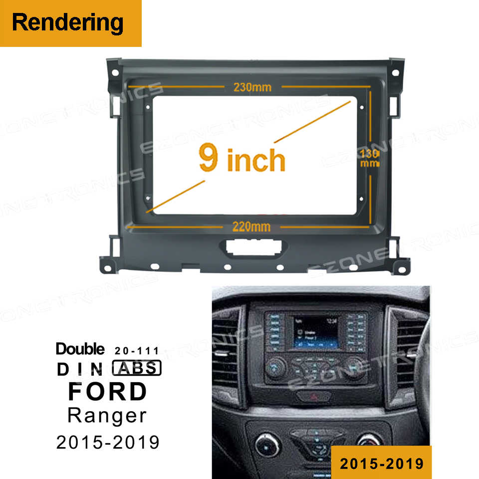 1din2Din Mobil DVD Bingkai Audio Pas Usb Dash Trim Kit Facia Panel 9Inch Untuk FORD Ranger 2015-2019 double Din Radio Pemain