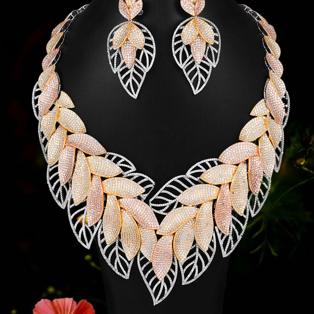 Nigerian African Zircon Wedding Elegant Leaf Feather Necklace Bracelet Earrings Ring Jewelry set High Quality 2020 New Fashion