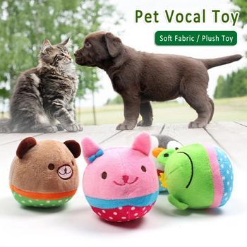 Krótkie pluszowe zabawki dla psów śliczne towary dla psów miękkie skrzypiące zabawki dla psów pluszowe zabawki dla psów wypchane zabawki dla psa akcesoria dla psów tanie i dobre opinie CN (pochodzenie) short plush and squeaker cute and soft squeaky toy mix with different color animal balls shape design squeaky Toy for dogs