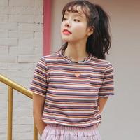 Nice Summer Korea Style Retro Embroidery Heart Hollow Short Sleeve T shirt Female Tide
