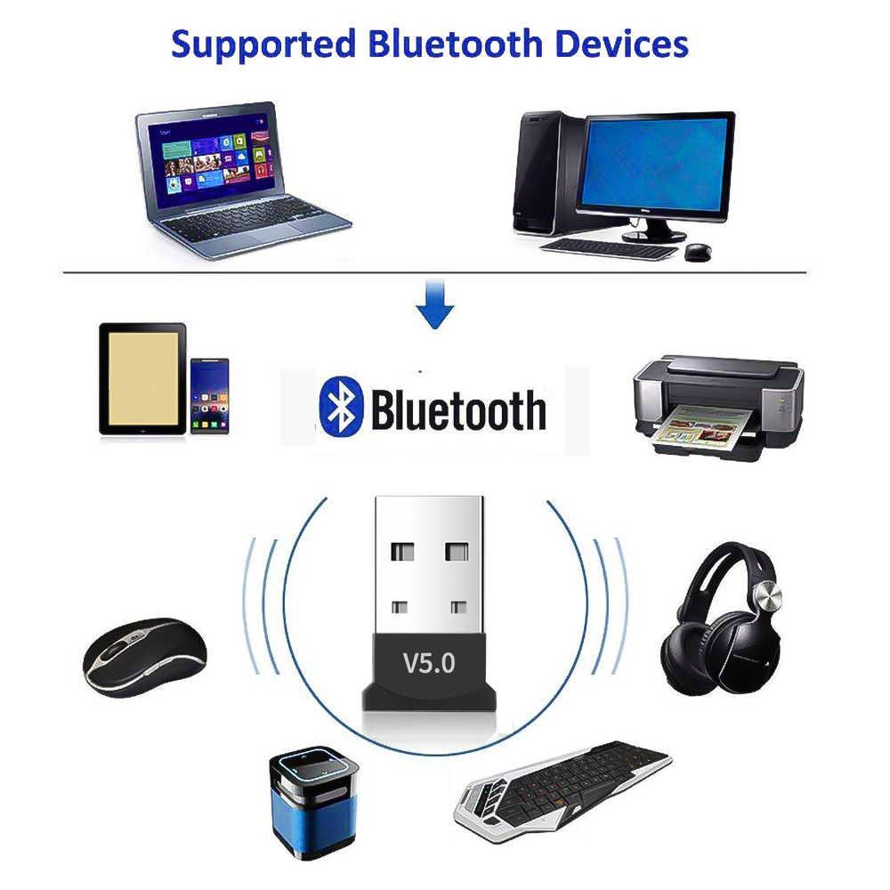 Kebidumei USB Bluetooth Adapter Bluetooth 5.0 Dongle Musik Receiver Adaptor Hingga 20M Rentang Nirkabel untuk Komputer Windows
