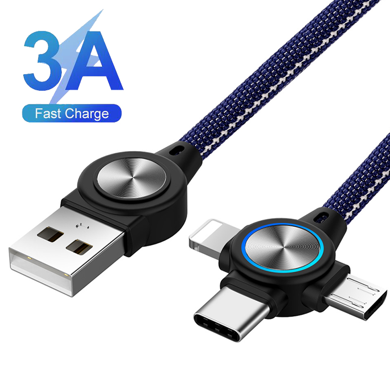 Multi <font><b>USB</b></font> Charger <font><b>3</b></font> <font><b>in</b></font> <font><b>1</b></font> <font><b>USB</b></font> <font><b>Cable</b></font> Micro Type C Lighting Fast Charging <font><b>Cable</b></font> for iPhone XR X Retractable LED Quick Charger Wire image