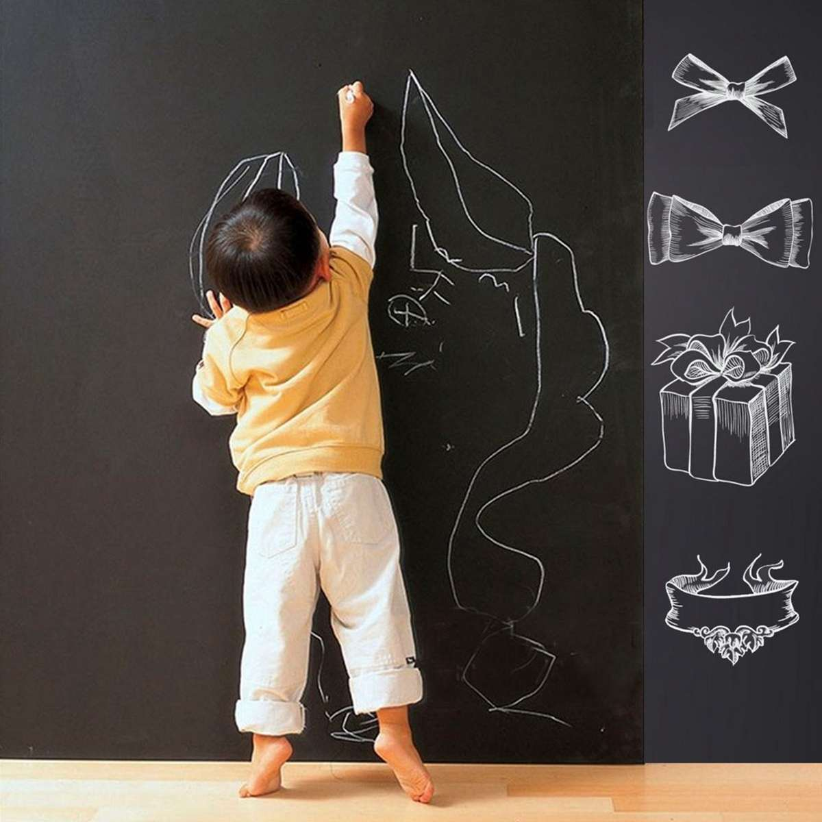 60x200cm Kids Blackboard Removable Wall Sticker Chalkboard Decal Children Blackboard Chalkboard Sticker Label For Boy Girls
