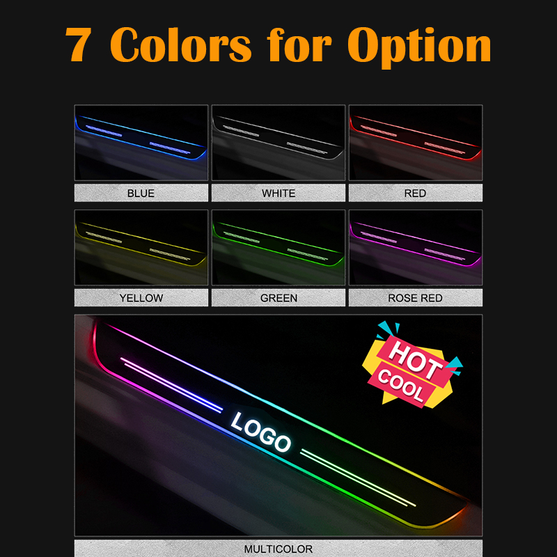 LED Door Sill For Ford Fiesta 2015 2016 2017 2018 Streamed Light Scuff Plate Acrylic Battery Car Door Sills Accessories in Nerf Bars Running Boards from Automobiles Motorcycles