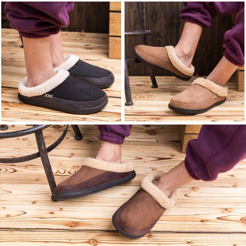 Купить с кэшбэком Warm Cotton Slippers Men Shoes Bathroom Indoor Man Winter Fur Shoes High Quality Plush House Flat Footwear Plus Size 48 49 50