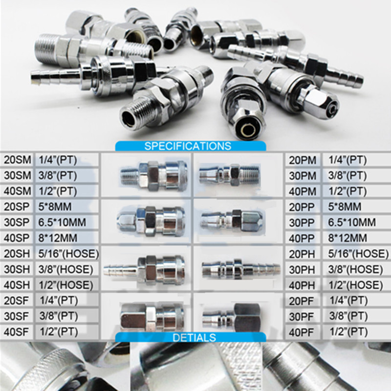 10 X 1//4 Air Compressor Plug Fitting Pneumatic Quick Connectors European Style