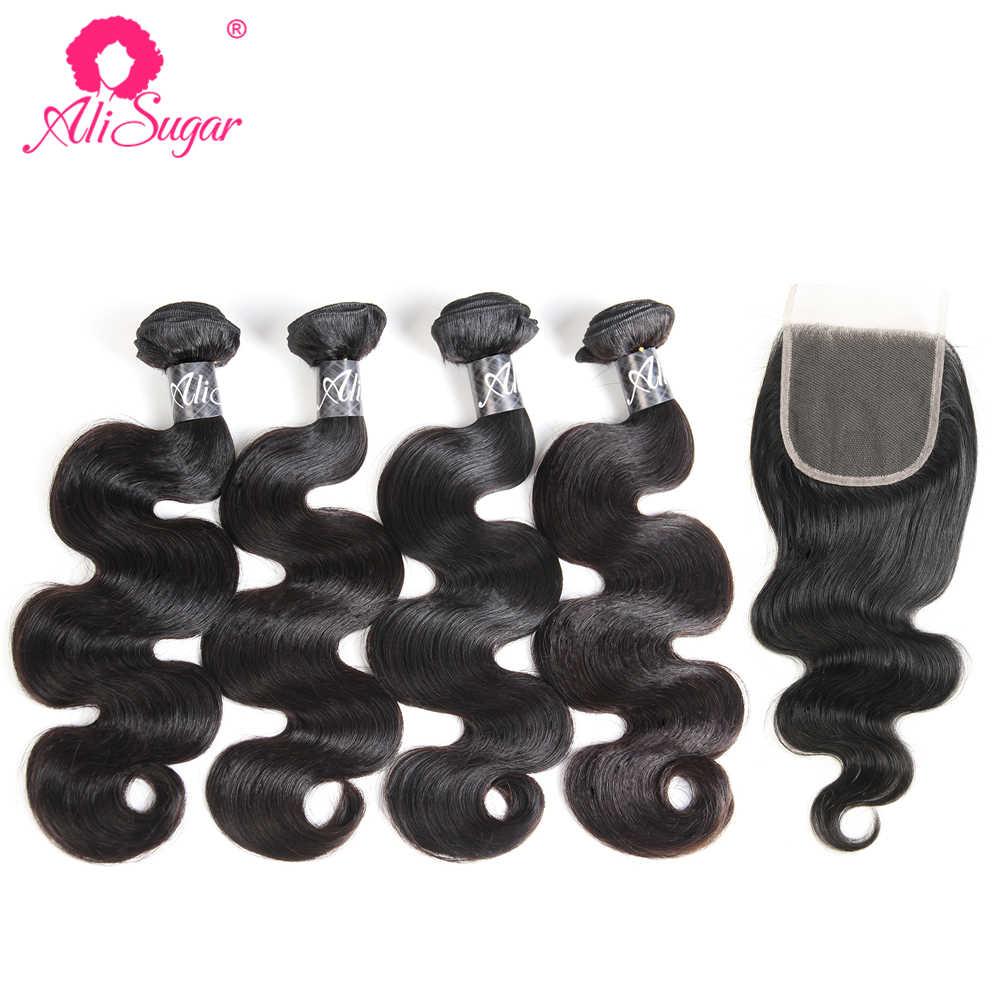 Ali Sugar Hair Peruvian Raw Virgin Hair Body Wave Human Hair Weave 4 Bundles With Closure 4*4 Lace Natural Color Free Shipping