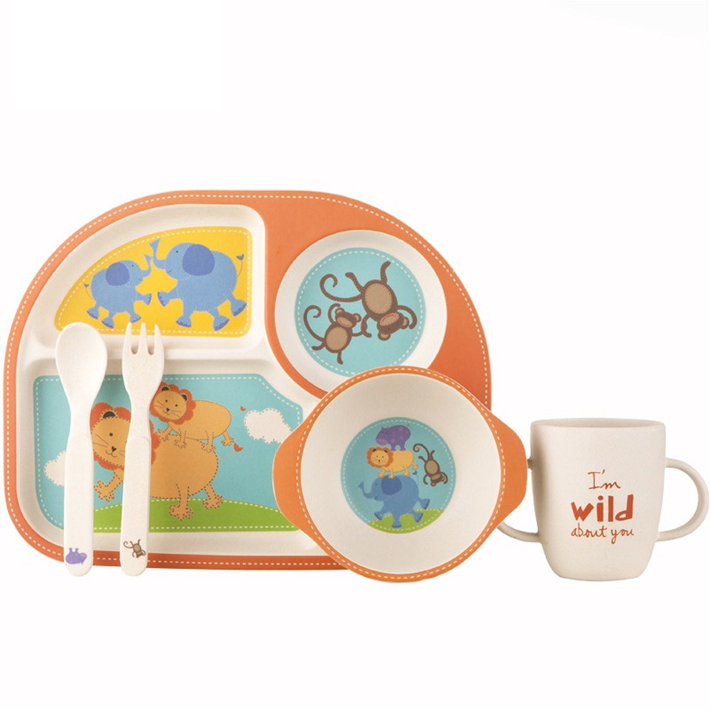 Kids 5pcs Divided Plate Bowl Cup Spoon