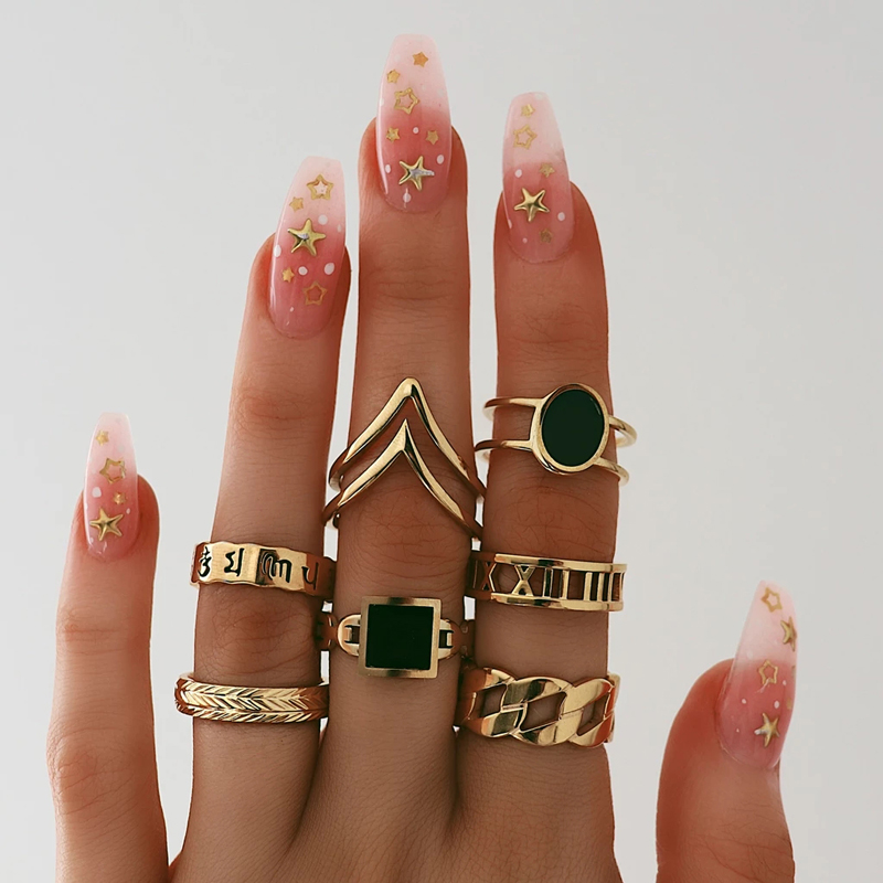 Tocona 7Pcs/set Women Gold Color Rings Vintage Midi Finger Rings Black Rhinestone Letter Ring Set Party Bague Femme 9808(China)