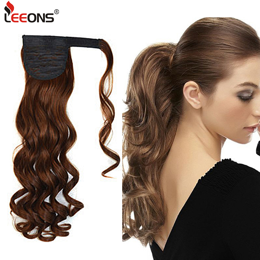 Leeons Long Curly Clip In Hair Tail 21Inch Synthetic Drawstring Ponytail Hairpiece With Hairpins Wrap Pony Tail Hair Extension