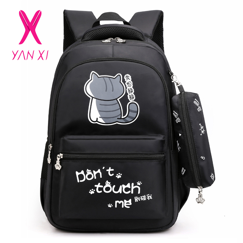 YANXI Cartoon Cat Laptop Backpacks With Pencil Case Fashion Letters Print School Bags Teenager Girls Backpack Mochila Sac A Dos
