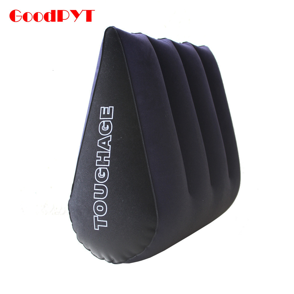 PVC Flocking Magic Triangle Aid Pillow Inflatable Sex Furniture For Couples Climax Magic Position Back Cushion Bolster image