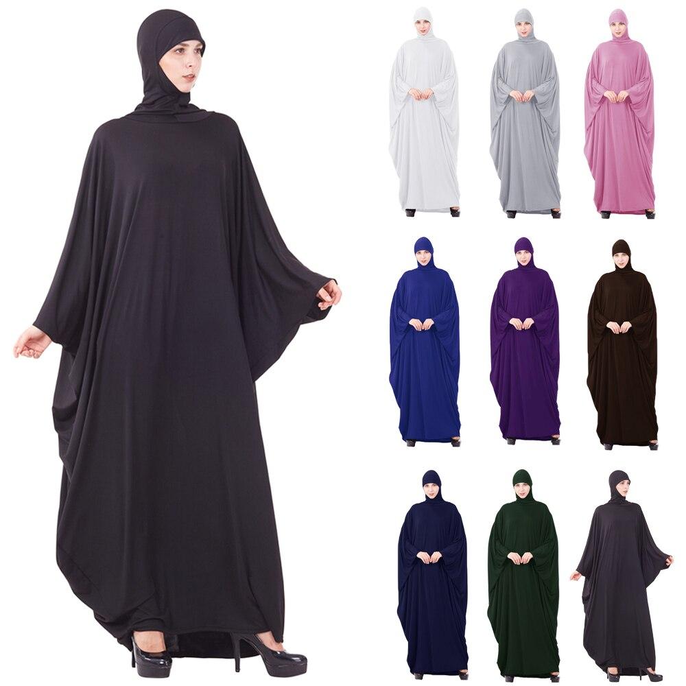 Muslim Women Prayer Garment Hijab Dress Loose Jilbab Arab Kaftan Farasha Robe Bat Sleeve Maxi Gown Worship Service Islamic Dress