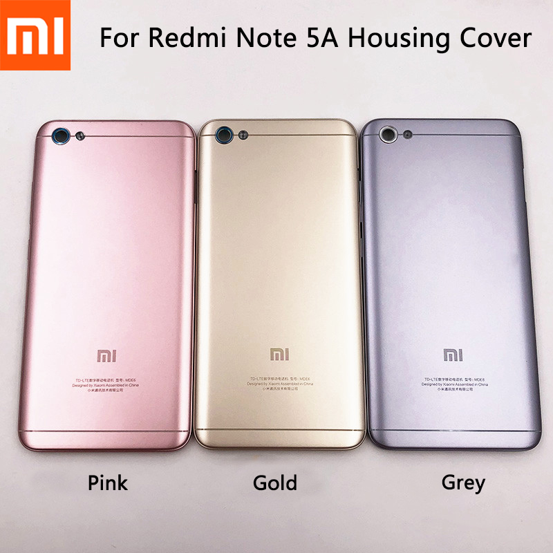 Original Xiaomi Redmi Note 5A Plastic Battery Housing Cover Rear Door Back Case Replacement For Redmi Note 5a With Side Buttons
