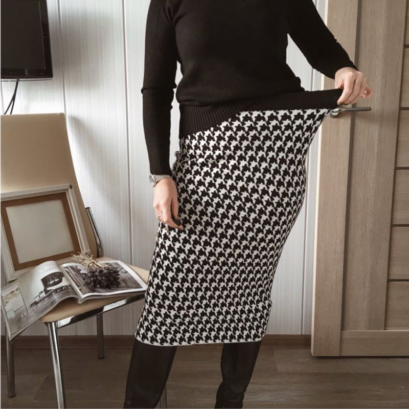H60a3d5bd630b4206b5e31f3bc57af67et - GIGOGOU Luxury Jacquard Knit Sweater Skirt Elastic Band High Waist Midi Pencil Skirt Bodycon Women Long Skirts Jupe Femme Faldas