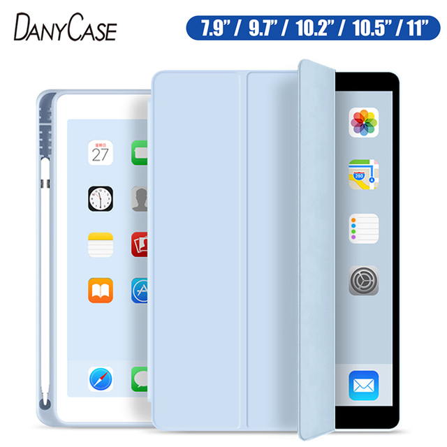 Case for 2019 iPad 10.2 7th 2018 2017 9.7 Mini 4 5 2020 Pro 11 10.5 Air 3 Smart Cover with Pencil Holder iPad 5th 6th Generation 1