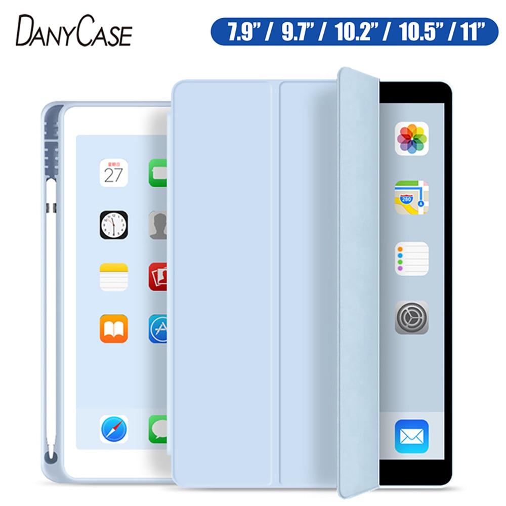 Чехол для iPad 10,2, 7, 2018, 2017, 9,7, Mini 4, 5, 2020 Pro, 11, 10,5, Air 3, умный чехол с держателем-карандашом для iPad 5-го, 6-го поколения, 2019
