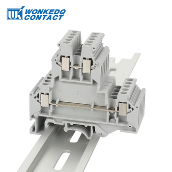 10Pcs UKKB-3 Din Rail Terminal Blocks  Connector Double Layer Terminal Screw Wiring UKKB3 wire connector  screw terminal block tb1504 1pcs dual row barrier screw terminal block strip wire connector fixed wiring board 600v 15a