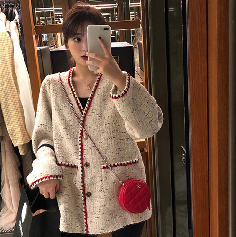 Best Fashion Designer Fashion Week 2020  Autumn Women Tweed Jacket Coat Grace Women Long Sleeves Single-breasted Loose Coat
