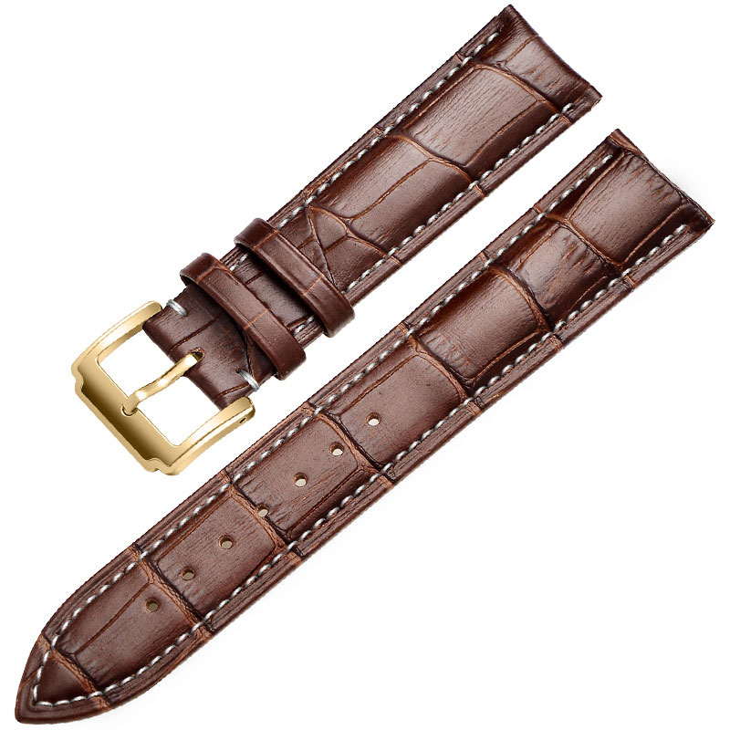 FUYIJIA Head Layer Cowhide Watch Belt Pin Buckle Watchbands Crocodile Pattern Leather Watch Band 12~24mm Strap Watch Accessories