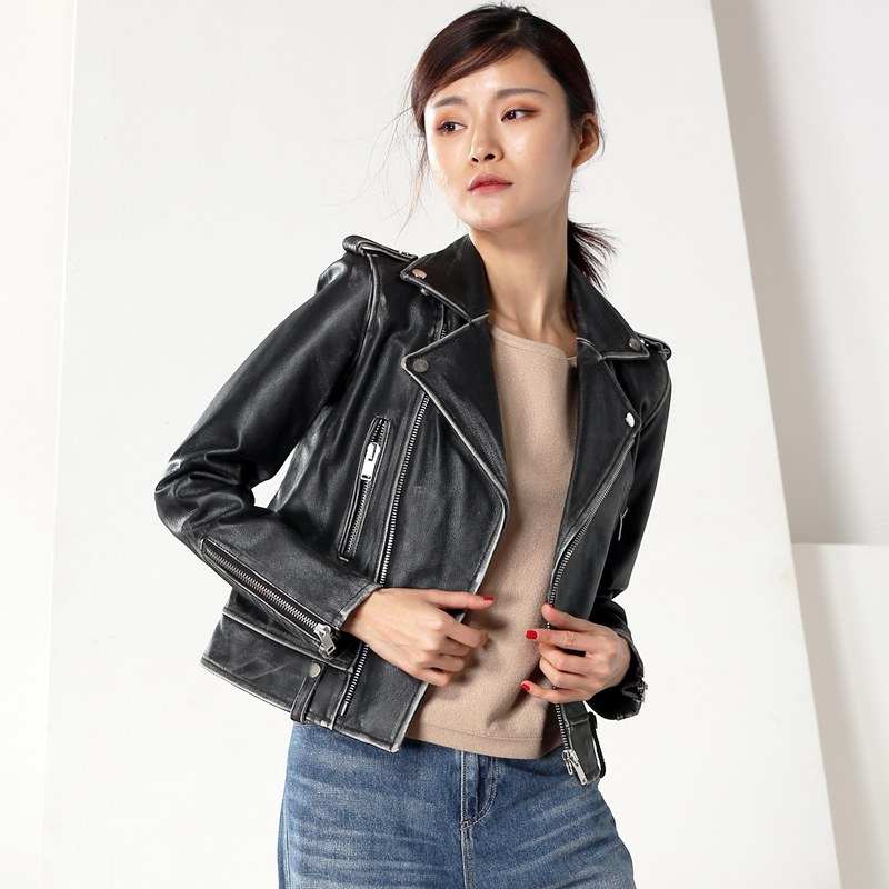 100% Genuine Leather Jacket Women Clothes 2020 Streetwear Vintage Winter Real Cow Leather Coat Female Jacket Chaqueta 110