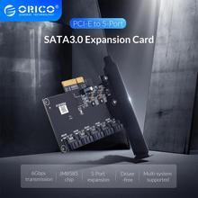 Orico Pci E Naar 5 Poort SATA3.0 Uitbreidingskaart Pci E X4 Slot Ondersteuning 6Gbps Pci E Naar Sata Adapter Hub