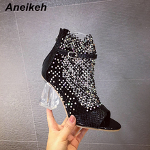 Aneikeh Fashion Glitter Mesh Sandals Ankle Boots Shoes Woman