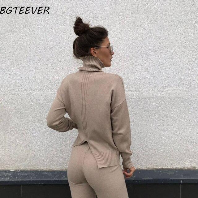 Pull décontracté pantalon tricoté 2 pièces ensemble col roulé pulls & taille élastique pantalon femmes pull ensembles 2019 automne tricoté ensemble 1