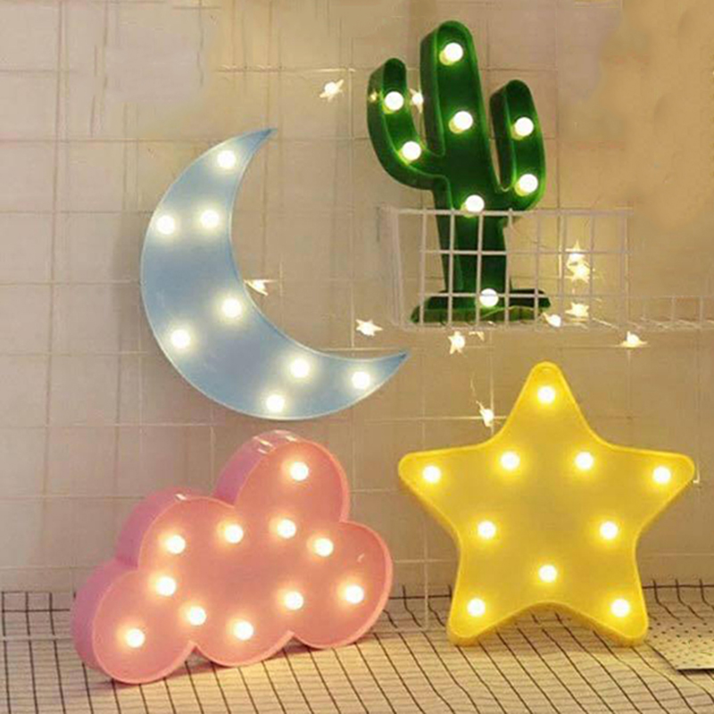 Fashion LED Night Light Cute Star Moon Wall Desktop Kids Room Nursery Lamp Fashion Mini 3D Christmas Hanging Ornament