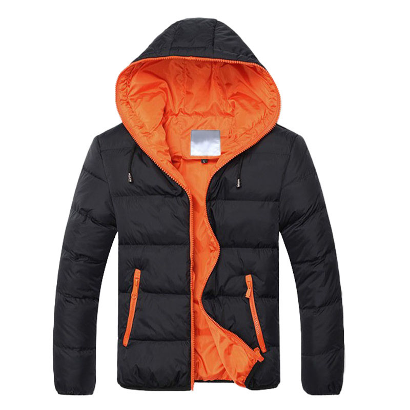 New Men Down Jacket Casual Loose Long Sleeve Zipper Pocket Coat Male Coat Winter Warm Plus Size Hot Selling