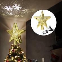 СВЕТОДИОДНЫЙ 3D светильник-проектор в форме мерцающей звезды с подвеской в виде рождественской елки, вечерние украшения серебристого цвета