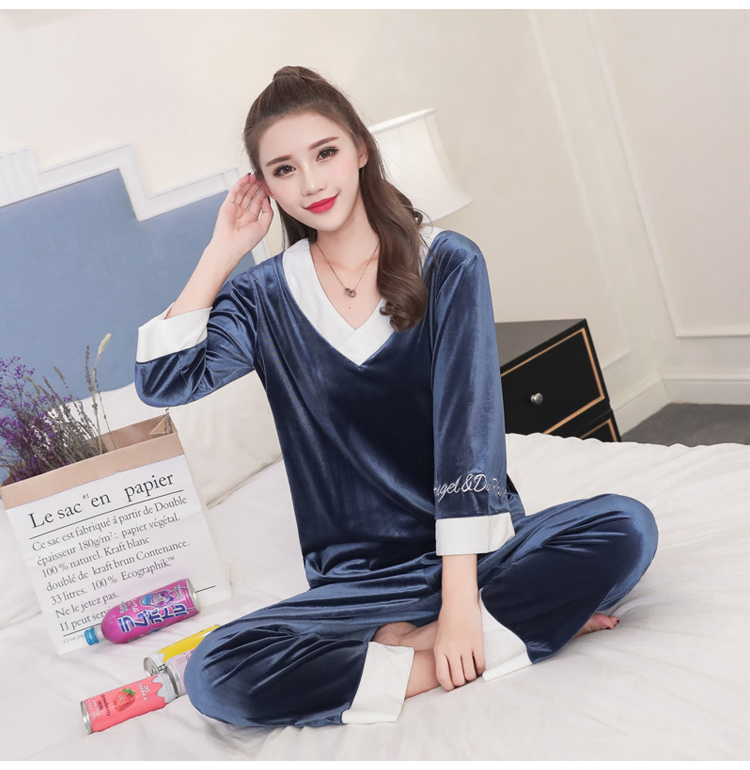 Girls Gold Velvet Pajamas Sets Women Autumn Winter Long Sleeve V-Neck Velour Pyjama Suit Warm Sleepwear Homewear Home Clothes 72