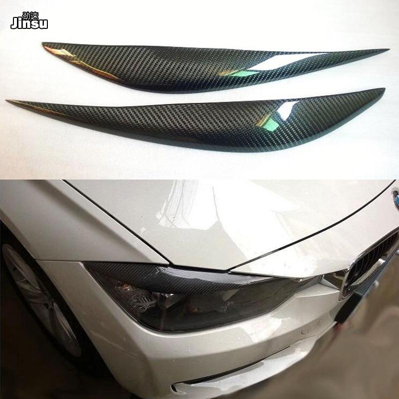 Carbon fiber front light sticker For 3 series 320i 325i 330i 335i 2013 2018 F30 F31 F80 M3 car styling eyebrows lip cover 2pcs
