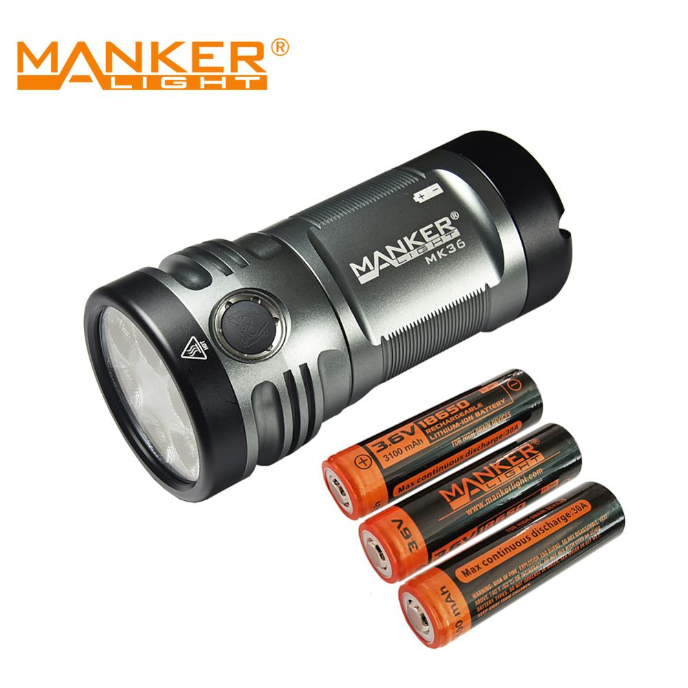 Bundle: Manker MK36 12,000 Lumens Pocket Powerful Flashlight + 3x 3100mAh High Drain 18650 Rechargeable Batteries (30A)