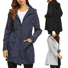 Vertvie Sports Jacket Women Windcoat Raincoat Hooded Coat Outdoor Lightweight Hiking Long Autumn Warm Outwear Camping
