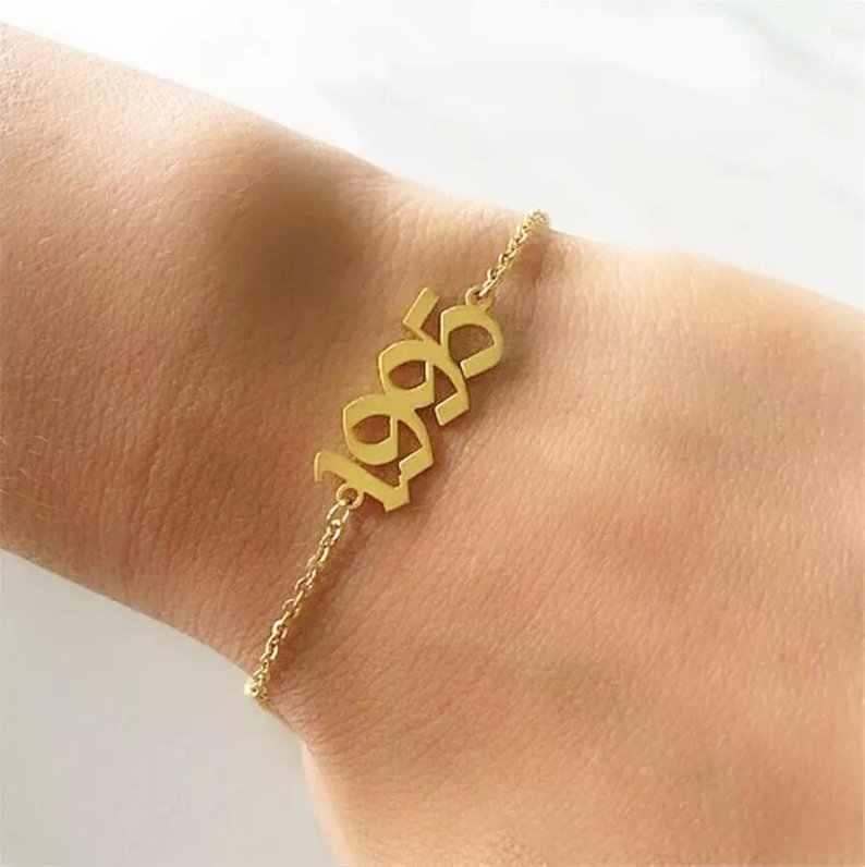 Moda damska 1990-2019 rok urodzenia kostki bransoletka na nogę biżuteria ze stali nierdzewnej różowe złoto spersonalizowany numer Anklet Best Friend Gifts