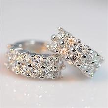 Luxury Female White Crystal Stone Earrings Trendy Silver Color Clip Earrings For Women Elegant Bridal Round Wedding Earrings pair of elegant faux gem clip earrings for women