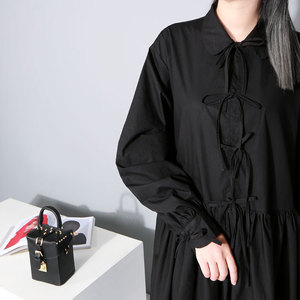 Image 5 - [EAM] Women Bandage Bow Split Joint Pleated Big Size Dress New Lapel Long Sleeve Loose Fit Fashion Tide Spring Autumn 2020 1D752