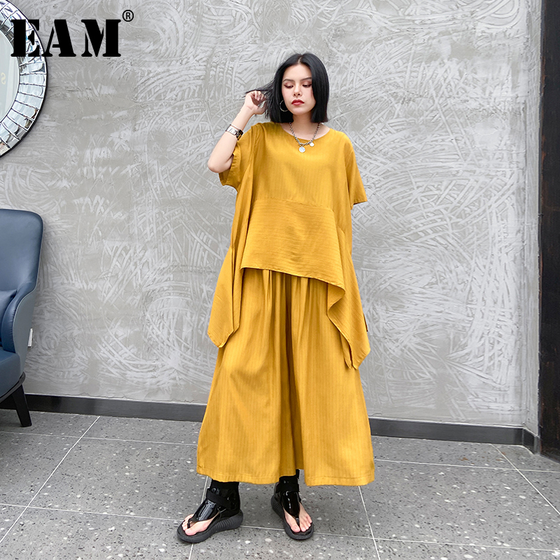 [EAM] Wide Leg Pants Two Piece Suit New Round Neck Half Sleeve Black Loose Fit Women Fashion Tide Spring Summer 2020 1U367