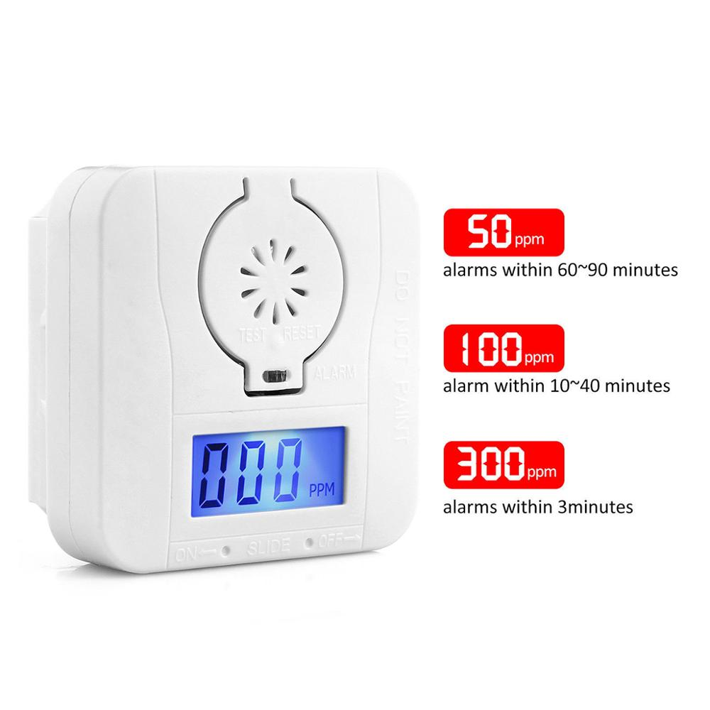 New-Co Carbon Monoxide Smoke Detector Alarm Poisoning Gas Warning Sensor Security Poisoning Alarm Lcd Photoelectric Detectors