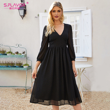 S.รสผู้หญิงสีดำเซ็กซี่PARTY Vestidos 2020 ฤดูใบไม้ร่วงแฟชั่นชุดชีฟองใหม่ผู้หญิงVคอSlim Bohemian A Line Dresses