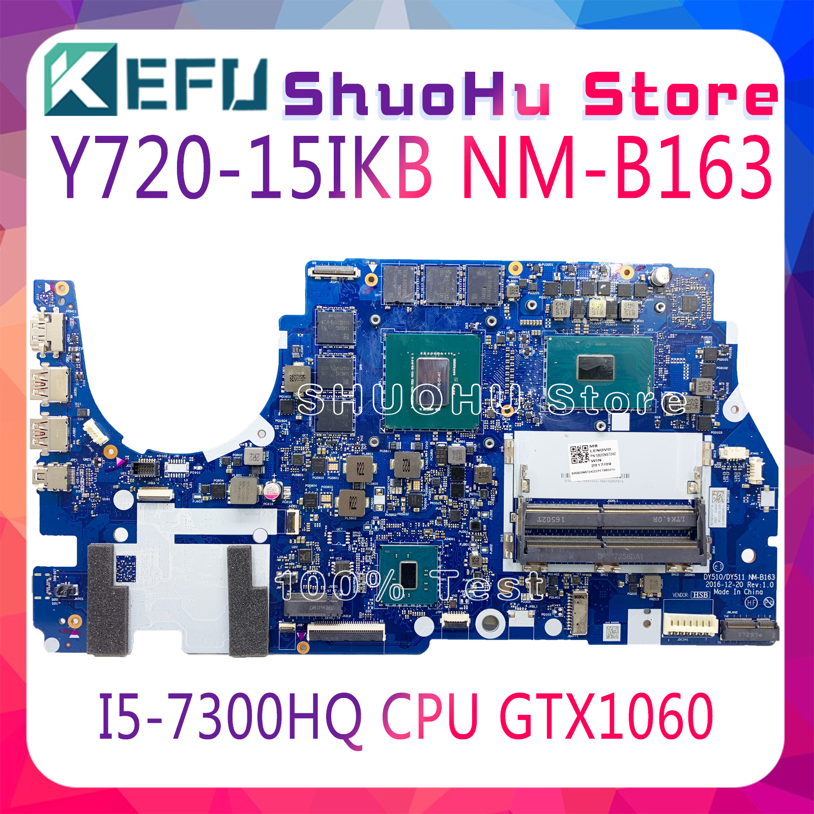DY510/DY511 NM-B163 MOTHERBOARD FIT for Lenovo Y720-15IKB R720 notebook motherboard CPU <font><b>i5</b></font> <font><b>7300HQ</b></font> GTX1060M 6G original 100% test image